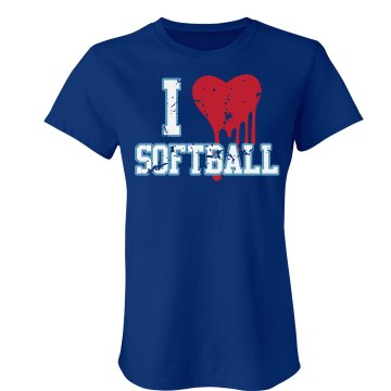 I Love Softball Distress Junior Fit Bella Crewneck Jersey Tee