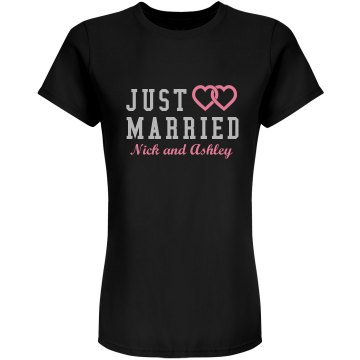 Just Married Hearts Junior Fit Bella Sheer Longer Length Rib Tee