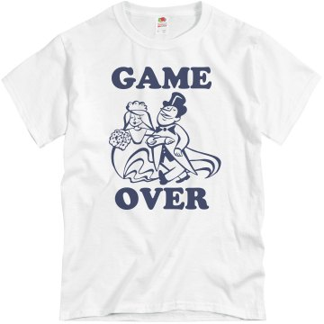 Game Over Toon Couple Unisex Basic Gildan Heavy Cotton Crew Neck Tee