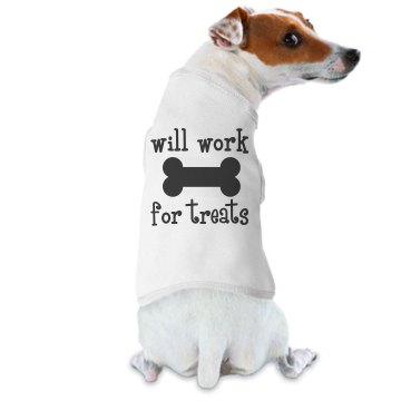 Will Work For Treats Doggie Skins Dog Ringer Tee