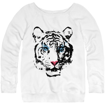 Tiger Sweatshirt Junior Fit Bella Triblend Slouchy Wideneck Sweatshirt