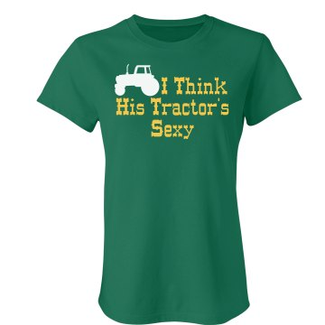 His Sexy Tractor Junior Fit Bella Crewneck Jersey Tee