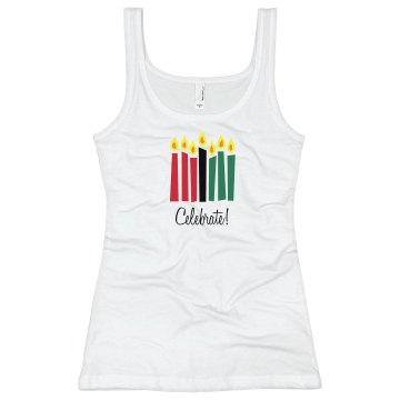 Kwanzaa Tank Junior Fit Bella Sheer Longer Length Rib Tank Top