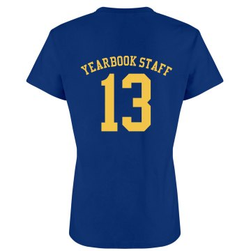 Yearbook Staff w/Back Junior Fit Bella Crewneck Jersey Tee