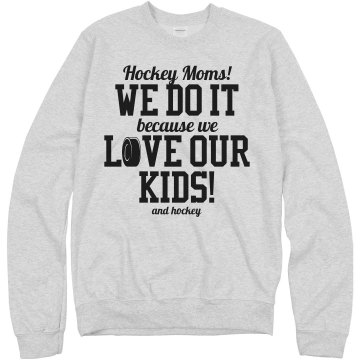 Hockey Mom Love Unisex Hanes Crew Neck Sweatshirt