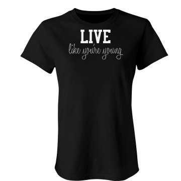 Live Young Rhinestones Junior Fit Bella Sheer Longer Length Rib Tee