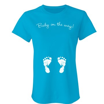 Baby On The Way Feet Tee Junior Fit Bella Sheer Longer Length Rib Tee