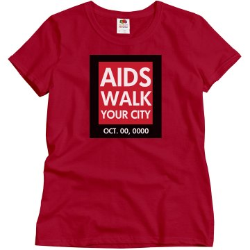 AIDS Awareness Walk Logo Misses Relaxed Fit Gildan Ultra Cotton Tee