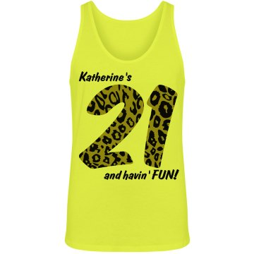 21st Birthday Fun Unisex American Apparel Neon Tank