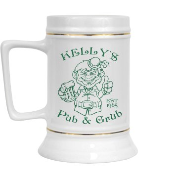 Kelly's Pub Stein 28oz Gold Trim Ceramic Stein