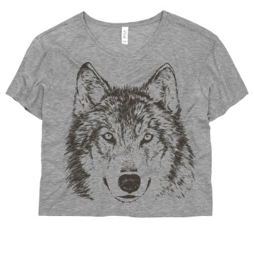 Wolf Graphic on Coral Misses Bella Flowy Boxy Lightweight Crop Tee