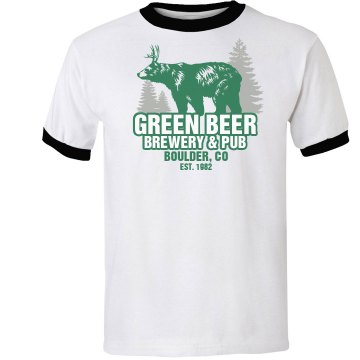 Green Beer Brewery Unisex Anvil Ringer Tee
