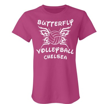 Volleyball Butterfly Tee Junior Fit Bella Sheer Longer Length Rib Tee