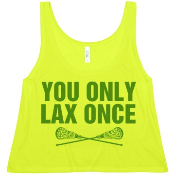 You Only Lax Once Misses American Apparel Neon Oversized Crop Tank