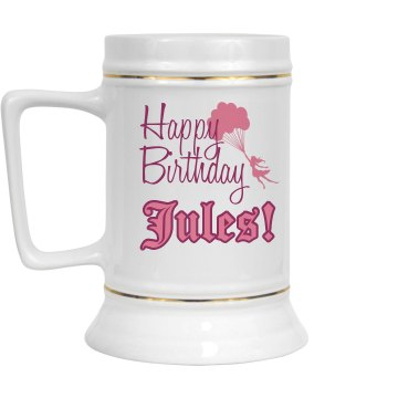 Happy Birthday 28oz Gold Trim Ceramic Stein