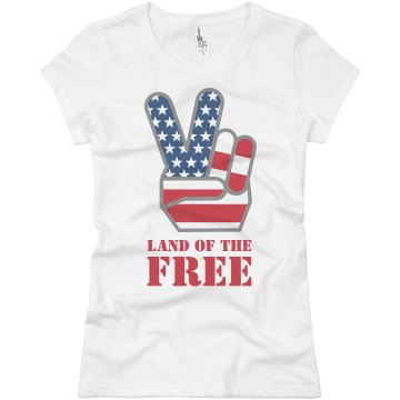 Land Of The Free Junior Fit Basic Bella Favorite Tee