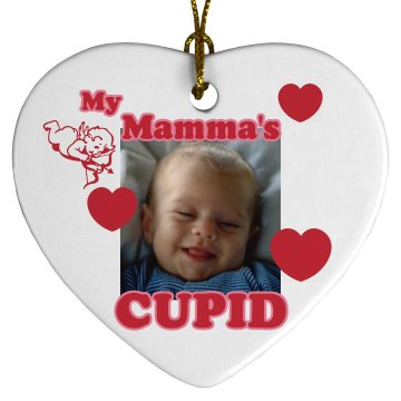 Mamma's Cupid Ornament Porcelain Heart Ornament