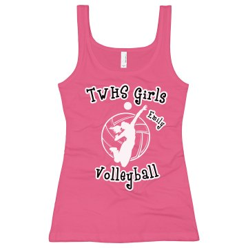 Girls Volleyball Tank Junior Fit Bella Longer Length 1x1 Rib Tank Top