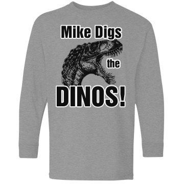 Mike Likes Dinosaurs Youth Gildan Ultra Cotton Long Sleeve Tee