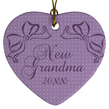 New Grandma Porcelain Heart Ornament