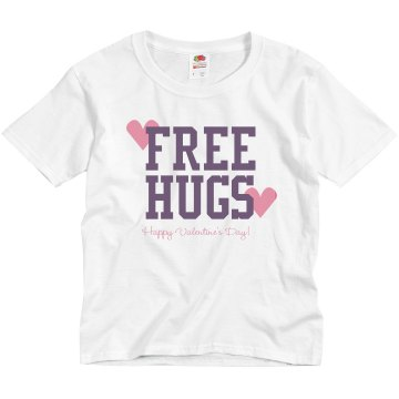 Free Valentine Hugs Youth Bella Girl Sheer 2-in-1 Baby Jersey Tee