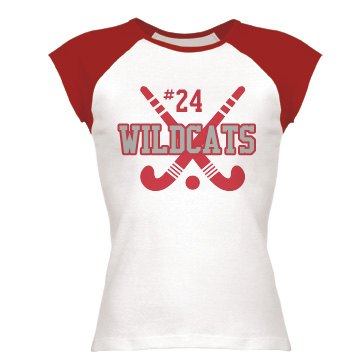 Field Hockey Tee Junior Fit Bella 1x1 Rib Cap Sleeve Raglan Tee