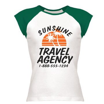 Travel Agency Junior Fit Bella 1x1 Rib Cap Sleeve Raglan Tee