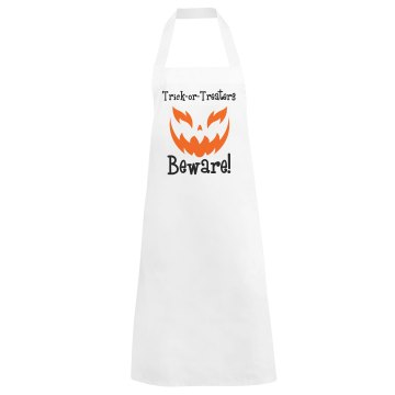 Halloween Beware Apron Basic White Apron