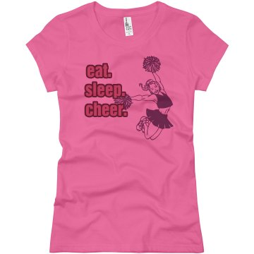 Eat Sleep Cheer Pink Junior Fit Basic Bella Favorite Tee