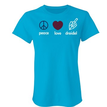 Peace, Love, Dreidel Junior Fit Bella Sheer Longer Length Rib Tee