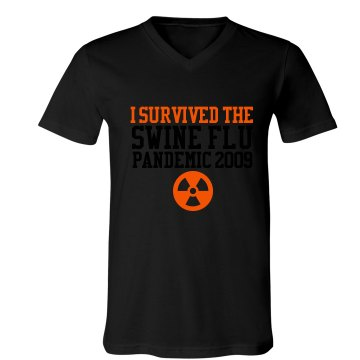I Survived the Swine Flu Unisex Canvas V-Neck Jersey Tee