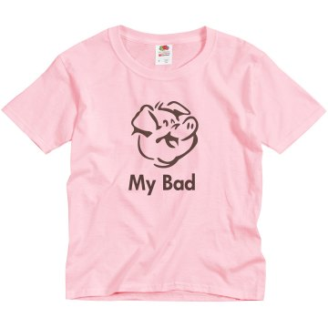 My Bad Swine Flu Youth Basic Gildan Heavy Cotton Crew Neck Tee