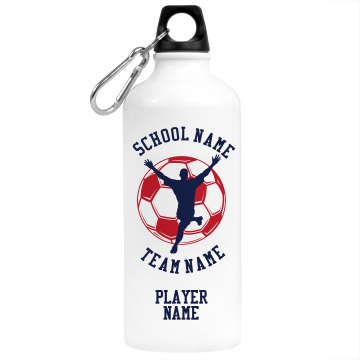 School Soccer Player Aluminum Water Bottle