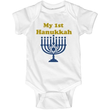 My First Hanukkah Infant Rabbit Skins Lap Shoulder Creeper