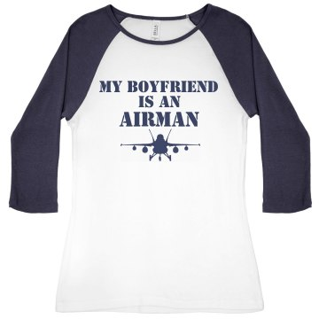 Boyfriend in Air Force Junior Fit Bella 1x1 Rib 3&#x2F;4 Sleeve Raglan Tee