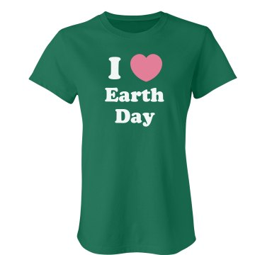 I Love Earth Day Junior Fit Bella Crewneck Jersey Tee