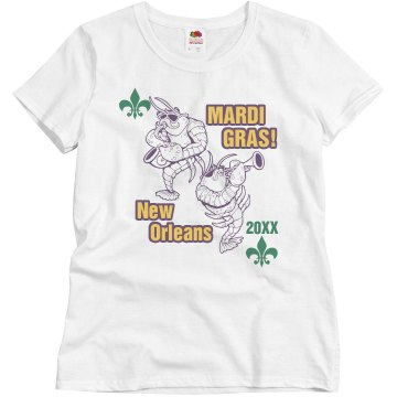 Mardi Gras Jazzfish Misses Relaxed Fit Basic Gildan Ultra Cotton Tee