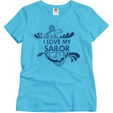 I Love My Sailor Misses Relaxed Fit Basic Gildan Ultra Cotton Tee