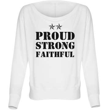 Proud Strong Faithful Junior Fit Bella Triblend Deep V Neck Tee