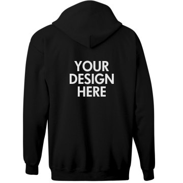 Custom Text Back Unisex Gildan Heavy Blend Full Zip Hoodie