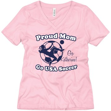 USA Soccer Mom Misses Relaxed Fit Anvil V-Neck Tee