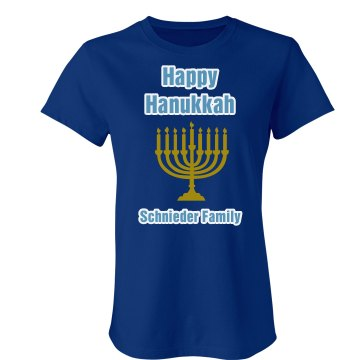 Hanukkah Family Tee Junior Fit Bella Crewneck Jersey Tee