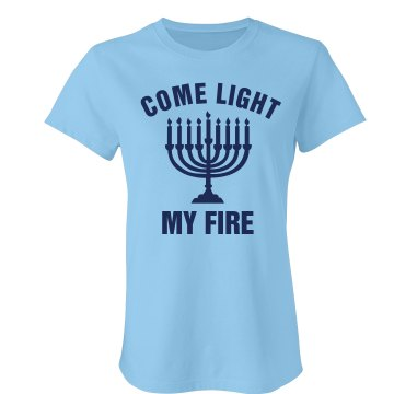 Light My Menorah Junior Fit Bella Crewneck Jersey Tee