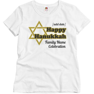 Hanukkah Celebration Tee Misses Relaxed Fit Basic Gildan Heavy Cotton Tee