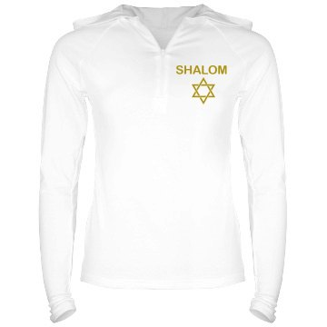 Shalom Hoodie Junior Fit Bella Long Sleeve 1/2 Zip Hooded Pullover Tee