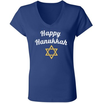 Hanukkah Festive Tee Junior Fit Bella Sheer Longer Length Rib V-Neck Tee