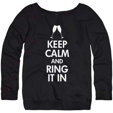 Ring In New Year's Eve Junior Fit Bella Triblend Slouchy Wideneck Sweatshirt