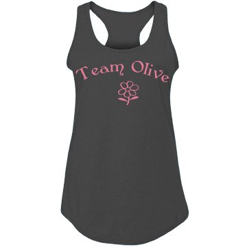 Team Olive Junior Fit Bella Sheer Longer Length Rib Racerback Tank Top
