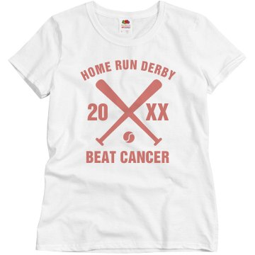 Cancer Home Run Derby Junior Fit Bella Sheer Longer Length Rib Tee