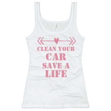 Clean Car, Save Life Junior Fit Basic Bella 2x1 Rib Tank Top